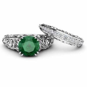 Natural Emerald Engagement Ring Set, 14K White Gold Rings Emerald Wedding Set Diamond Matching Band