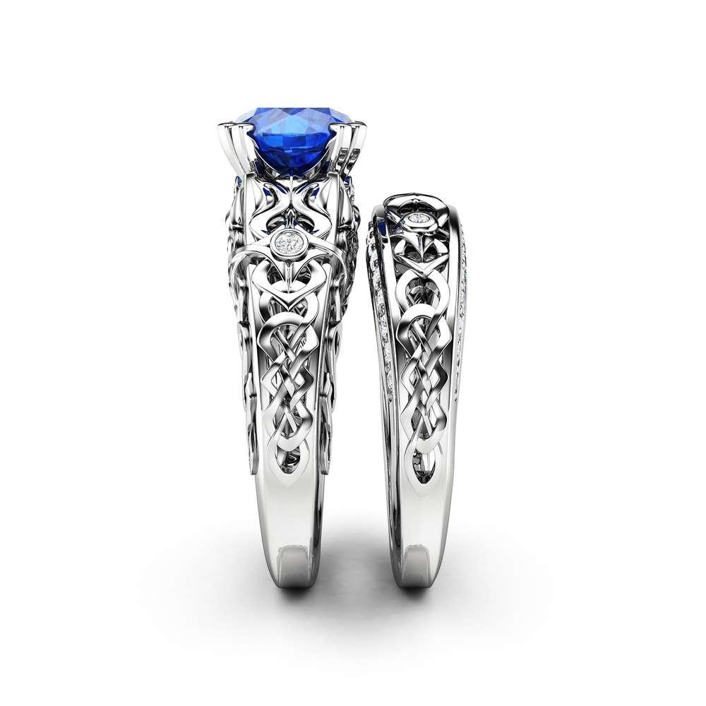 Royal Blue Sapphire Engagement Ring- 14k White Gold Natural Blue Sapphire wedding set- September Birthstone Ring