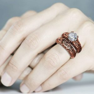 Vintage 2 Carat Moissanite Forever One Engagement Ring Set Rose gold Ring Art Deco Ring Bridal Rings