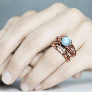 Aquamarine 2 Carat Engagement Ring Set, art nouveau Bridal Set, 14K Rose Gold Engagement Rings,