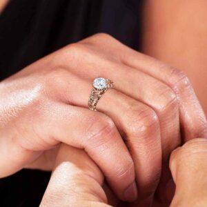 Unique 14K Rose Gold Moissanite Engagement Ring 2 Carat Round Cut Moissanite Engagement Ring