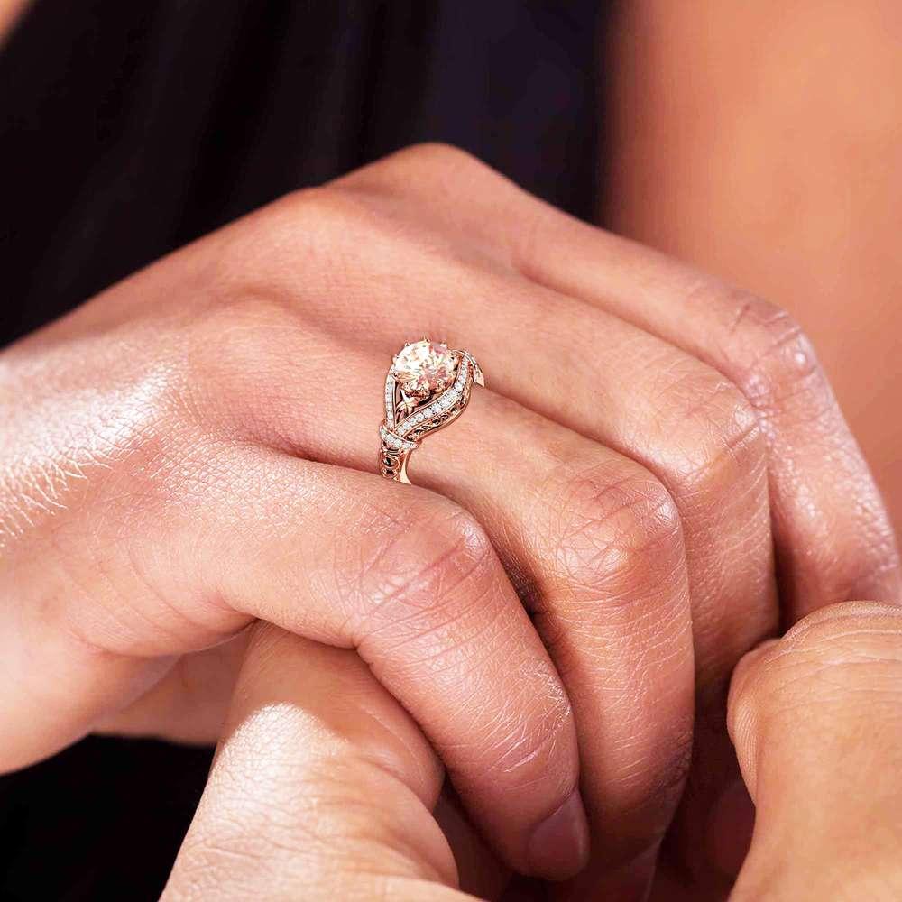 Unique Peach Pink Morganite Engagement Ring 14K Rose Gold wedding Ring 2 Carat Morganite Unique Ring