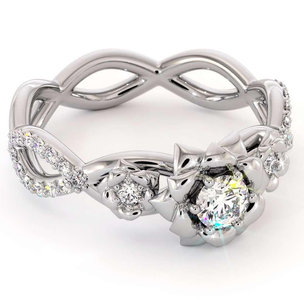Diamond Engagement Ring 14K White Gold Ring Leaf Engagement Ring