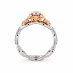Diamond Engagement Ring 14K White & Rose Gold Ring Leaf Engagement Ring