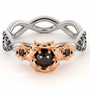 Black Diamond Engagement Ring 14K White & Rose Gold Ring Leaf Engagement Ring