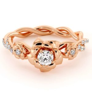 Diamond Engagement Ring 14K  Rose Gold Ring Rose Engagement Ring