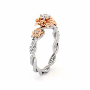 Diamond Engagement Ring 14K White & Rose Gold Ring Rose Engagement Ring