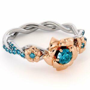 Blue Diamond Engagement Ring 14K White & Rose Gold Ring Rose Engagement Ring
