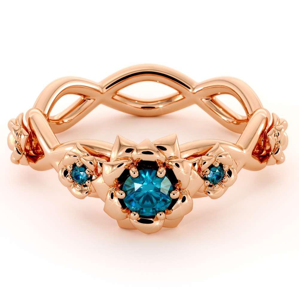Blue Diamond Engagement Ring 14K Rose Gold Ring Rose Flower Engagement Ring