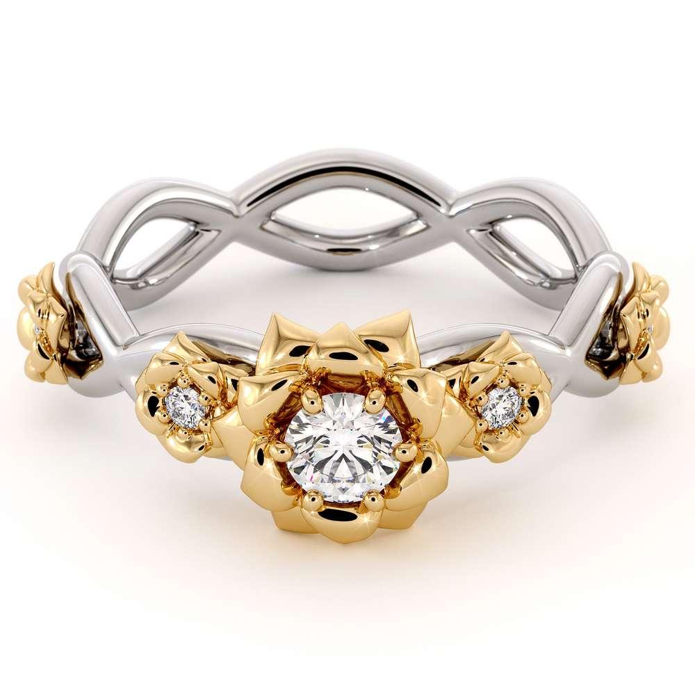 Diamond Engagement Ring 14K White & Yellow Gold Ring Rose Flower Engagement Ring