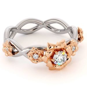 Diamond Engagement Ring 14K White & Rose Gold Ring Rose Flower Engagement Ring