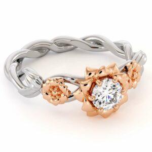 Diamond Engagement Ring 14K White & Rose Gold Ring Unique Engagement Ring