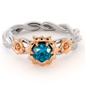 Blue Diamond Engagement Ring 14K White & Rose Gold Ring Unique Engagement Ring
