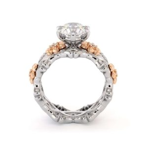 Unique Engagement Ring Set 14K White & Rose Gold Rings Moissanite Engagement Rings