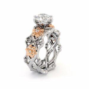 Unique Engagement Ring Set 14K White & Rose Gold Rings Moissanite Engagement Rings