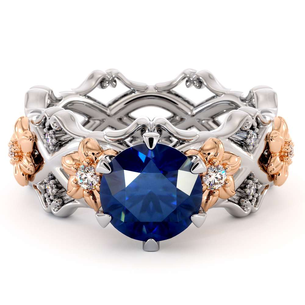 Unique Engagement Ring Set 14K White & Rose Gold Rings Sapphire Engagement Rings