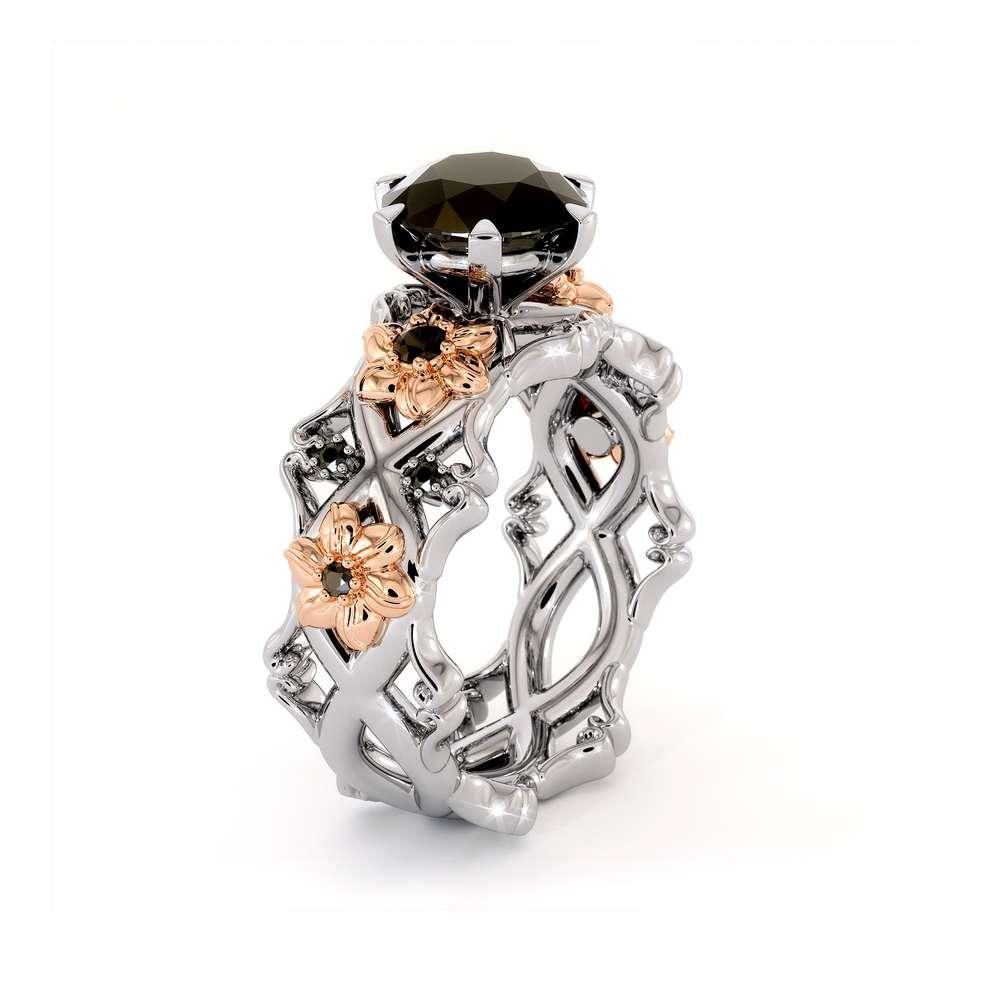 Diamond Engagement Ring Set 14K White & Rose Gold Rings Unique Engagement Rings