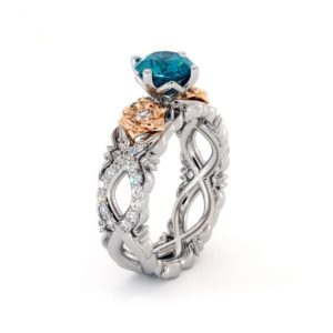 Topaz Engagement Ring 14K White & Rose Gold Ring Leaf Engagement Ring