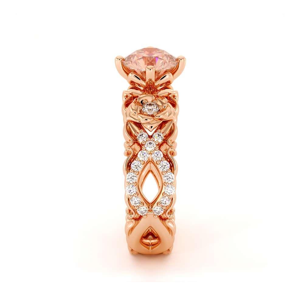 Morganite Engagement Ring 14K  Rose Gold Ring Flower Engagement Ring