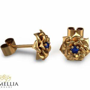 14K Yellow Gold Blue Sapphire Flower Earrings Gold Stud Earrings Flower Earrings Blue Sapphire Earrings