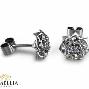 14K White Gold Flower Diamond Stud Earrings Diamond Earrings Gold Earrings Flower Design