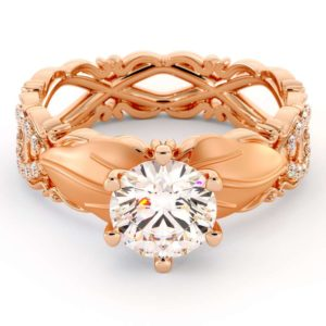 Leaf Engagement Ring Moissanite Ring 14K Rose Gold Ring Leaves Engagement Ring