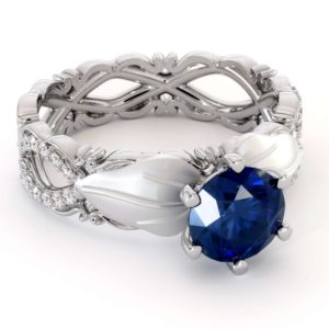 Leafs Engagement Ring Blue Sapphire Ring 14K White Gold Ring Leaves Engagement Ring