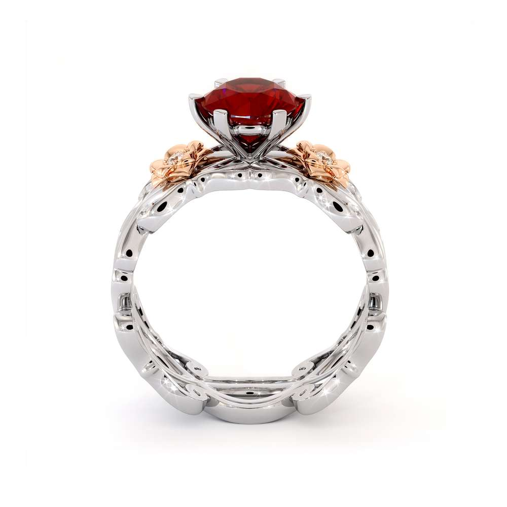 Ruby Engagement Ring 14K Two Tone Gold Unique Flower Engagement Ring