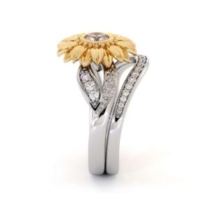 Sunflower Engagement Ring Set Lab Grown Diamond Engagement Ring Yellow & White Gold Ring