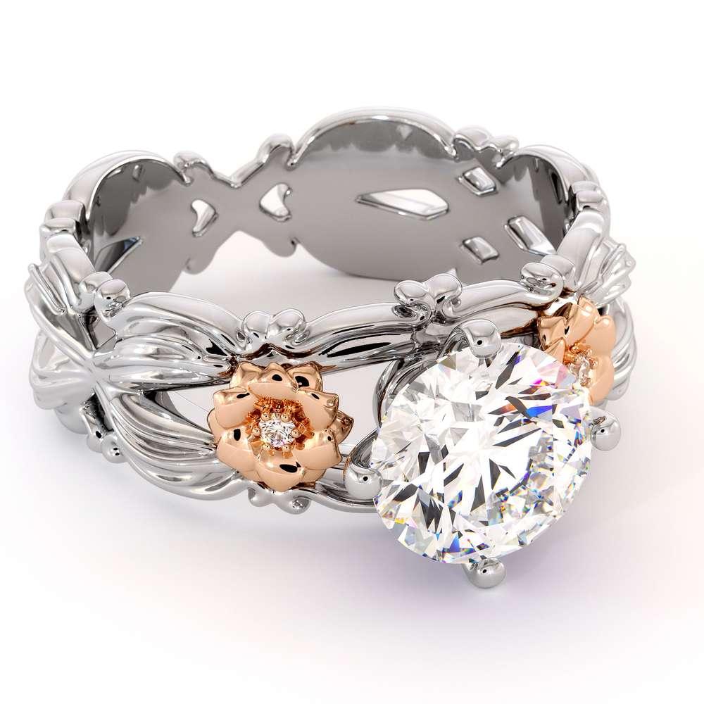 Unique Flowers Engagement Ring 14K White & Rose Gold Ring Moissanite Engagement Ring