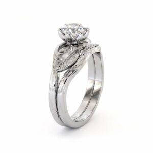 Leaf Moissanite Bridal Set 14K White Gold Ring  Unique Moissanite Engagement Rings