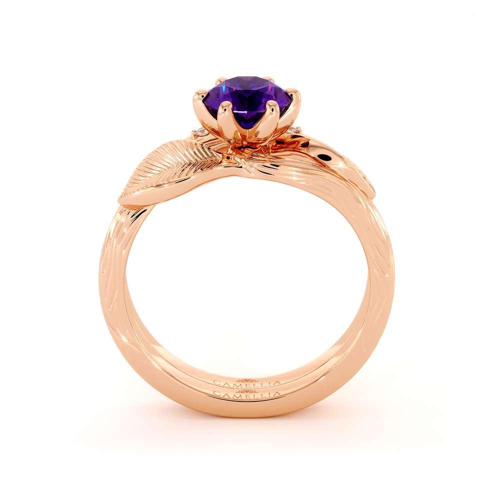 Leaf Engagement Ring Set 14K Rose Gold Ring Unique  Amethyst Engagement Rings