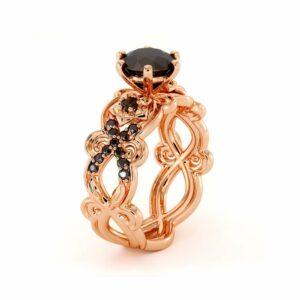 Black Diamond Engagement Ring Two Flowers Ring 14K Rose Gold Ring Natural Diamonds Ring