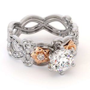 Moissanite Engagement Ring 14K White & Rose Gold Ring Two Flower Engagement Ring