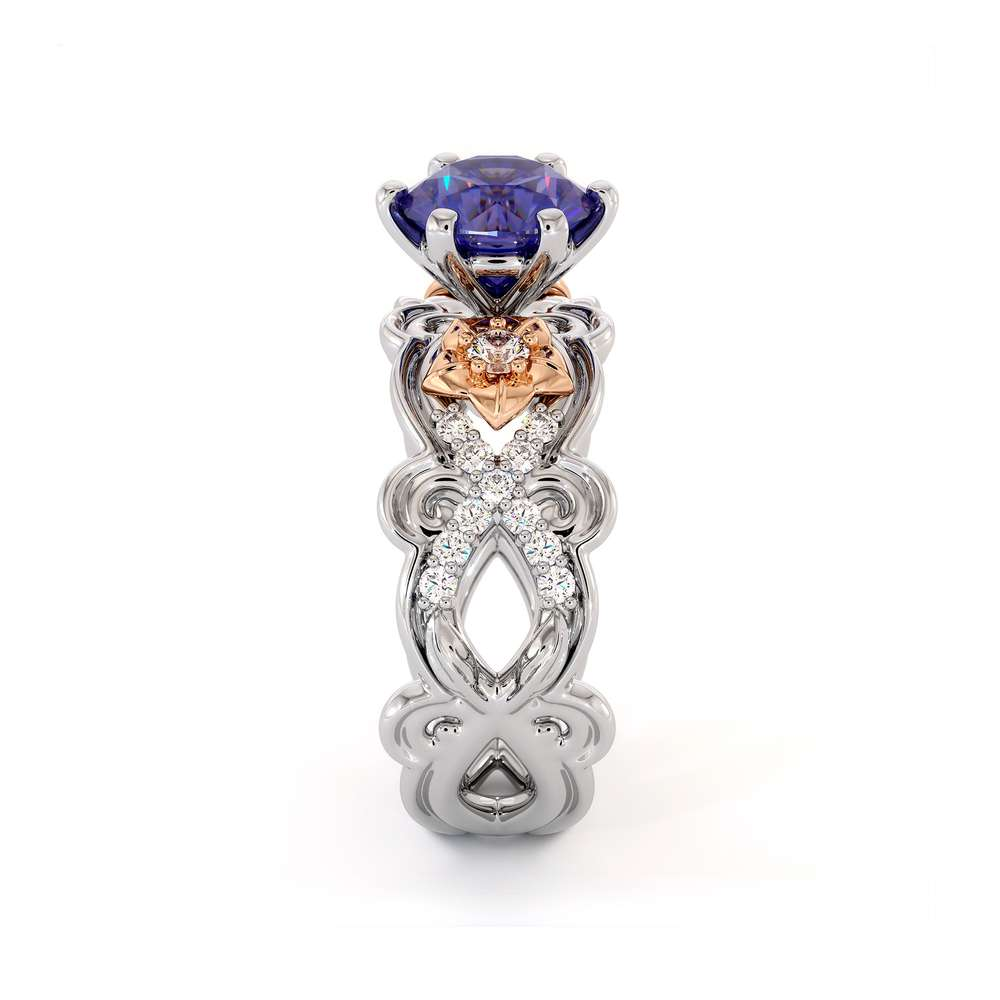 Natural Tanzanite Gold Flower Ring Unique Engagement Ring Floral Blue Gemstone Engagement Ring