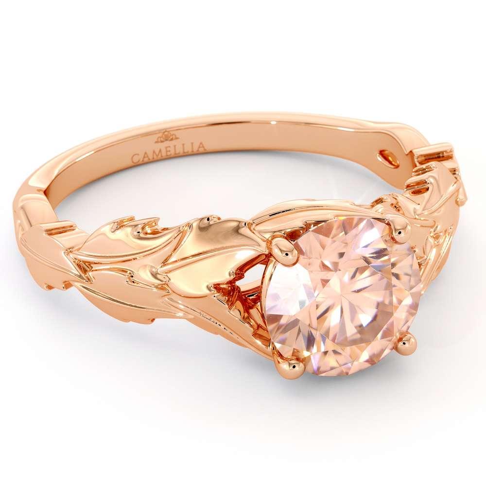 Leafs Engagement Ring Morganite Engagement Ring Rose Gold Ring