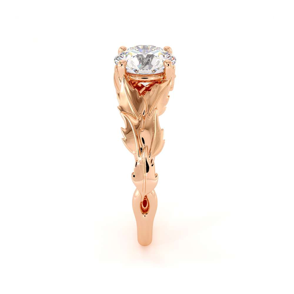 Leaf Engagement Ring Moissanite Engagement Ring Rose Gold Ring by Camellia Jewelry