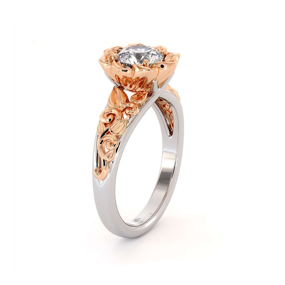 Moissanite Engagement Ring Two Tone Gold Ring Solitaire Ring Leaf Engagement Ring C