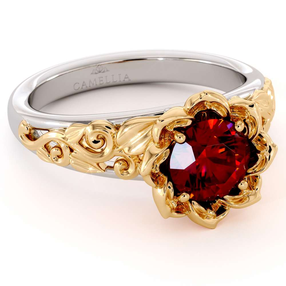Ruby Engagement Ring Two Tone Gold Ring Solitaire Ring Leaf Engagement Ring