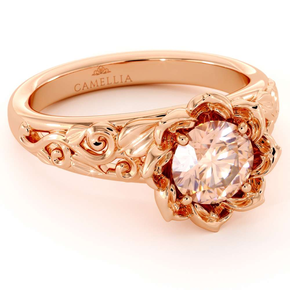 Peach Pink Sapphire Engagement Ring Solitaire Ring Leaf Engagement Ring
