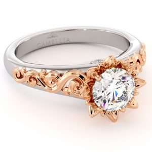 Moissanite Engagement Ring Two Tone Gold Ring Flower Engagement Ring Solitaire Ring