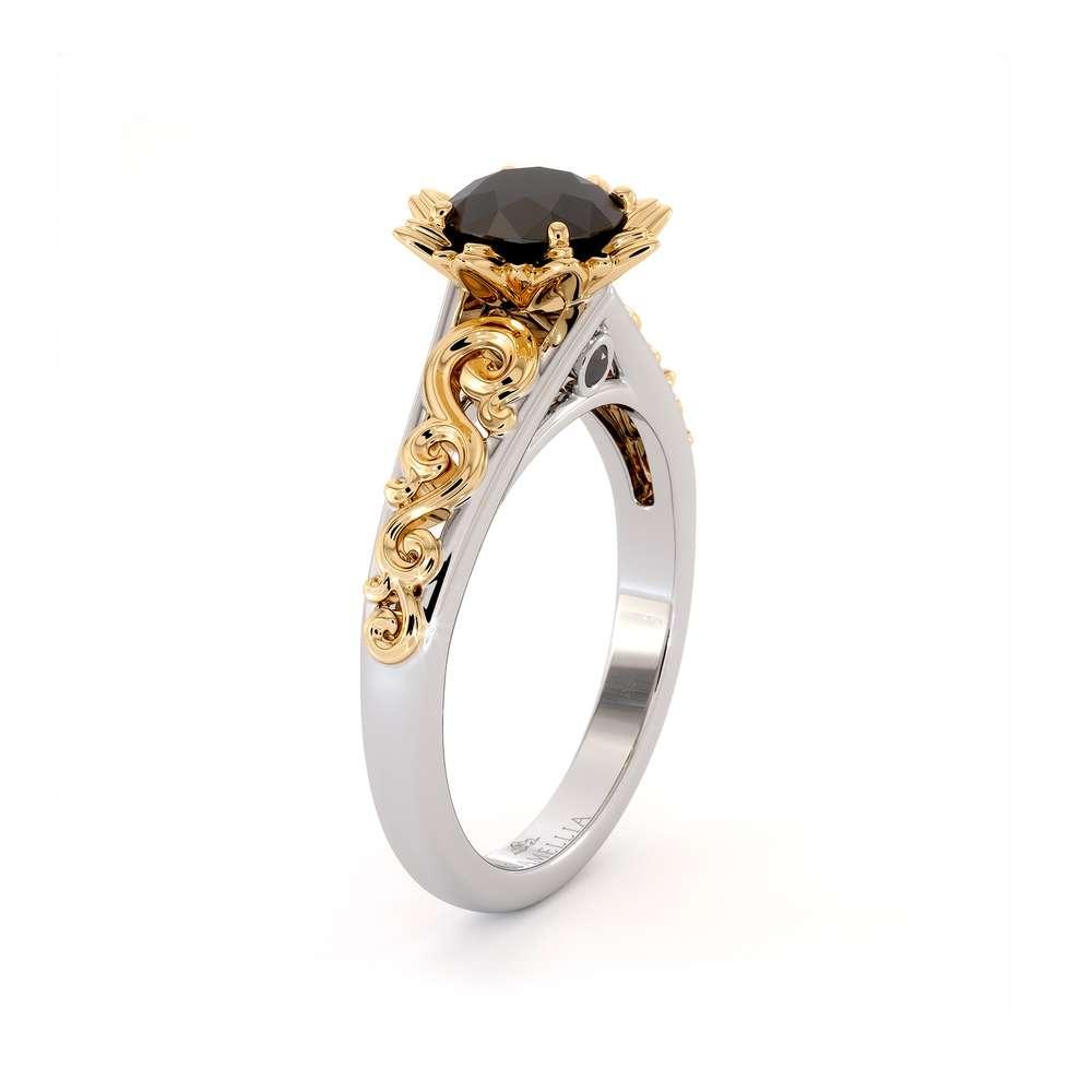 Black Diamond Engagement Ring Two Tone Engagement Ring Solitaire Ring Flower Engagement Ring
