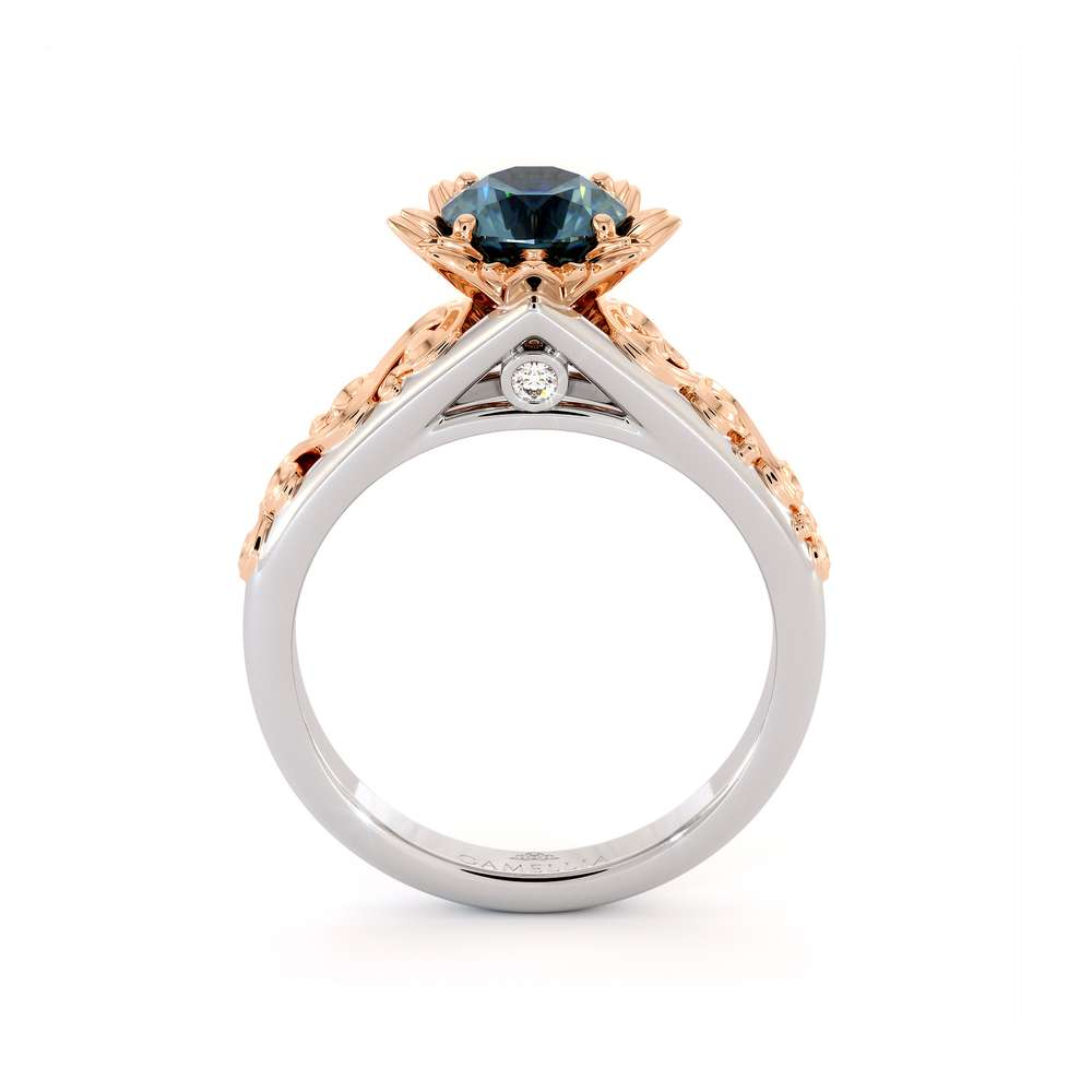 Blue Diamond Engagement Ring Two Tone Engagement Ring Solitaire Ring Flower Engagement Ring