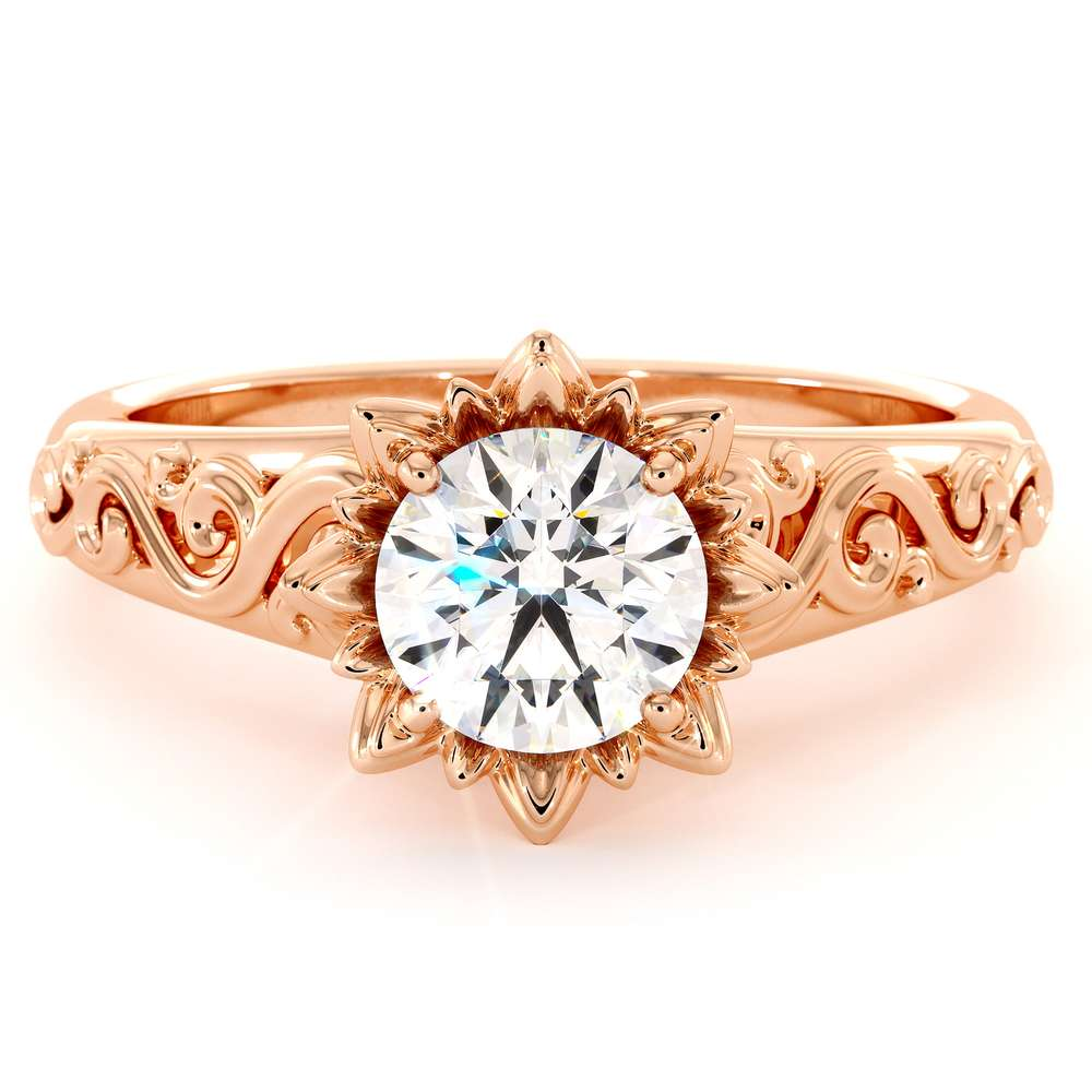 Rose Gold Moissanite Engagement Ring Flower Engagement Ring by Camellia Jewelry