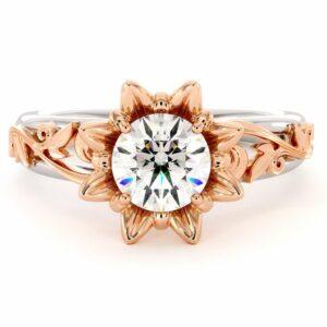 Moissanite Engagement Ring 14K White & Rose Gold Ring  Leaf Engagement Ring