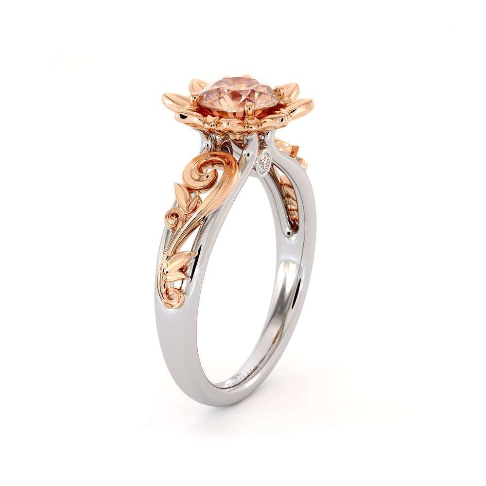Peach Sapphire Engagement Ring 14K White & Rose Gold Ring  Leaf Engagement Ring