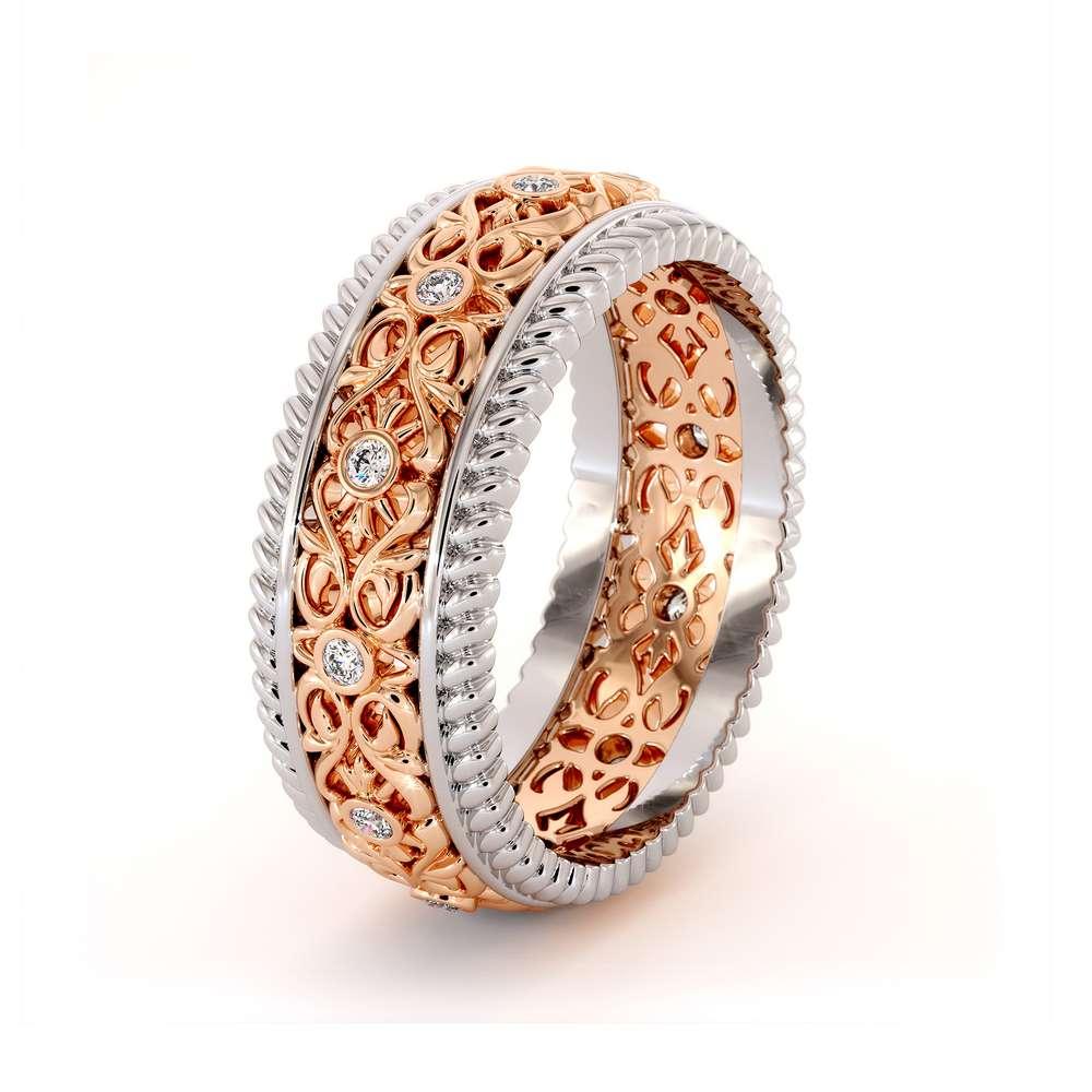 Diamond Wedding Band-Unique Mens Wedding Ring-14K Two Tone Gold Wedding Ring