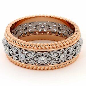 Diamond Wedding Band-Unique Mens Wedding Band-14K Two Tone Gold Wedding Ring