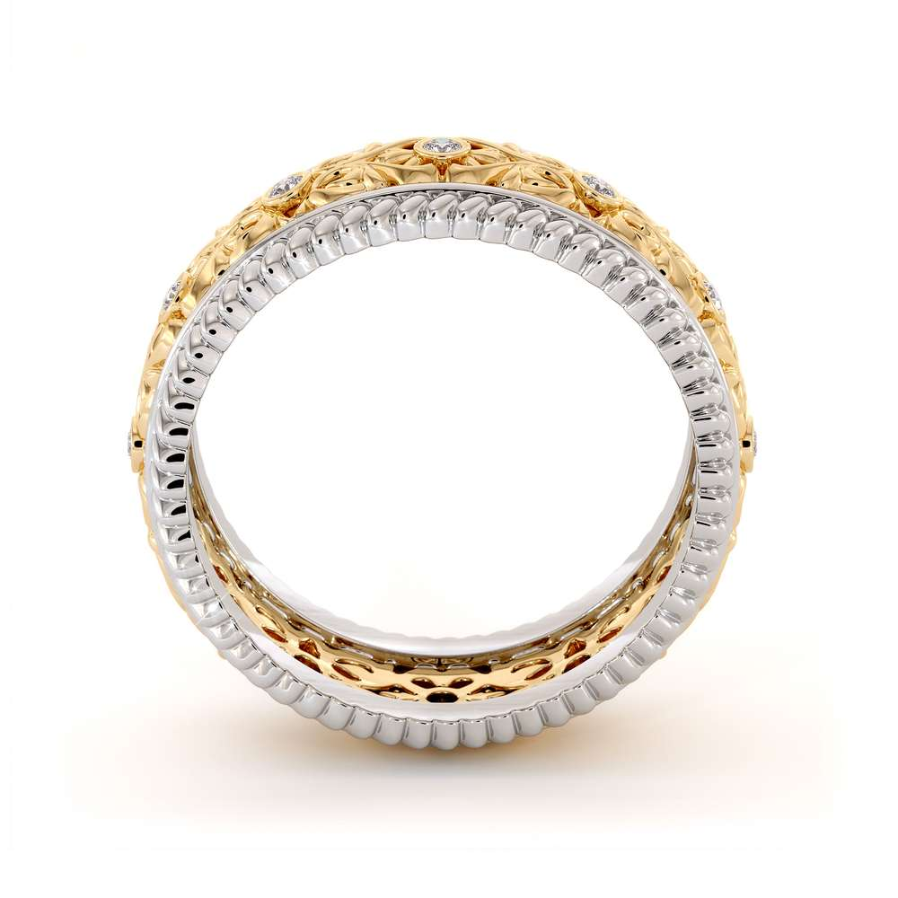Diamond Wedding Band Unique Mens Wedding Band 14K Two Tone Gold Wedding Ring