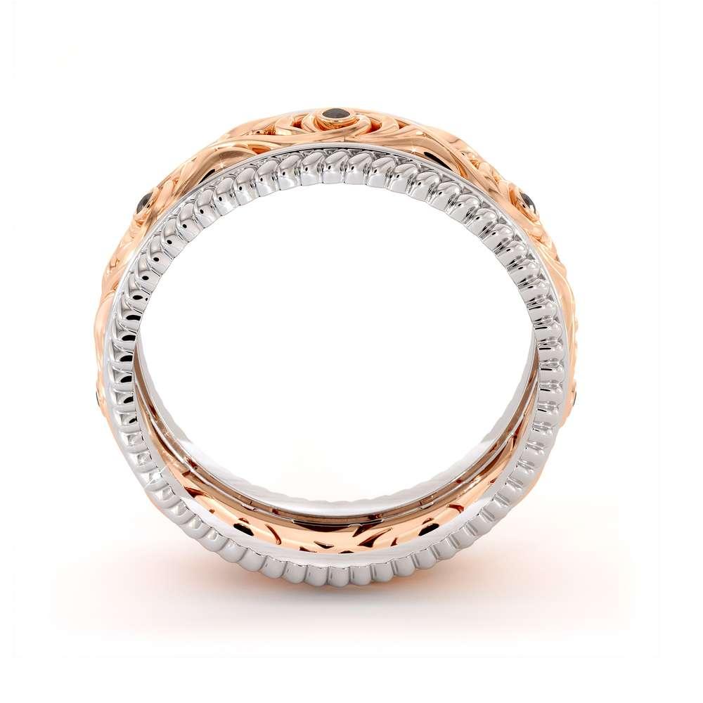Black Diamonds Wedding Band 14K Two Tone Gold Wedding Band Unique Art Deco Mens Wedding Ring